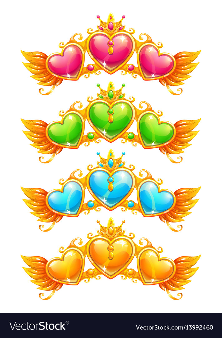 Cool golden banners with colorful crystal hearts