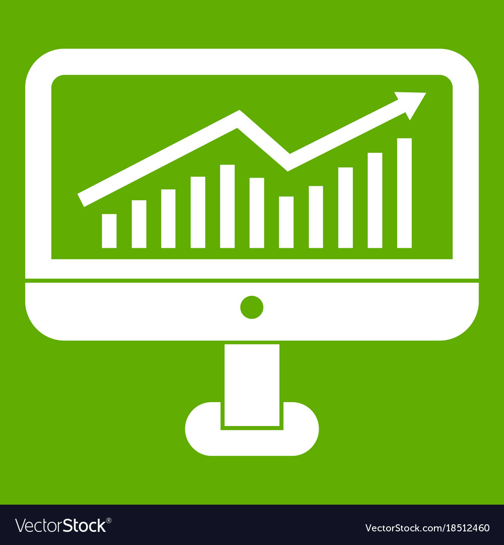 Growth graph on the computer monitor icon green