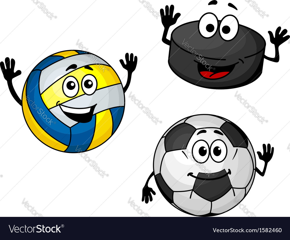 Hockey puck volleyball and soccer balls