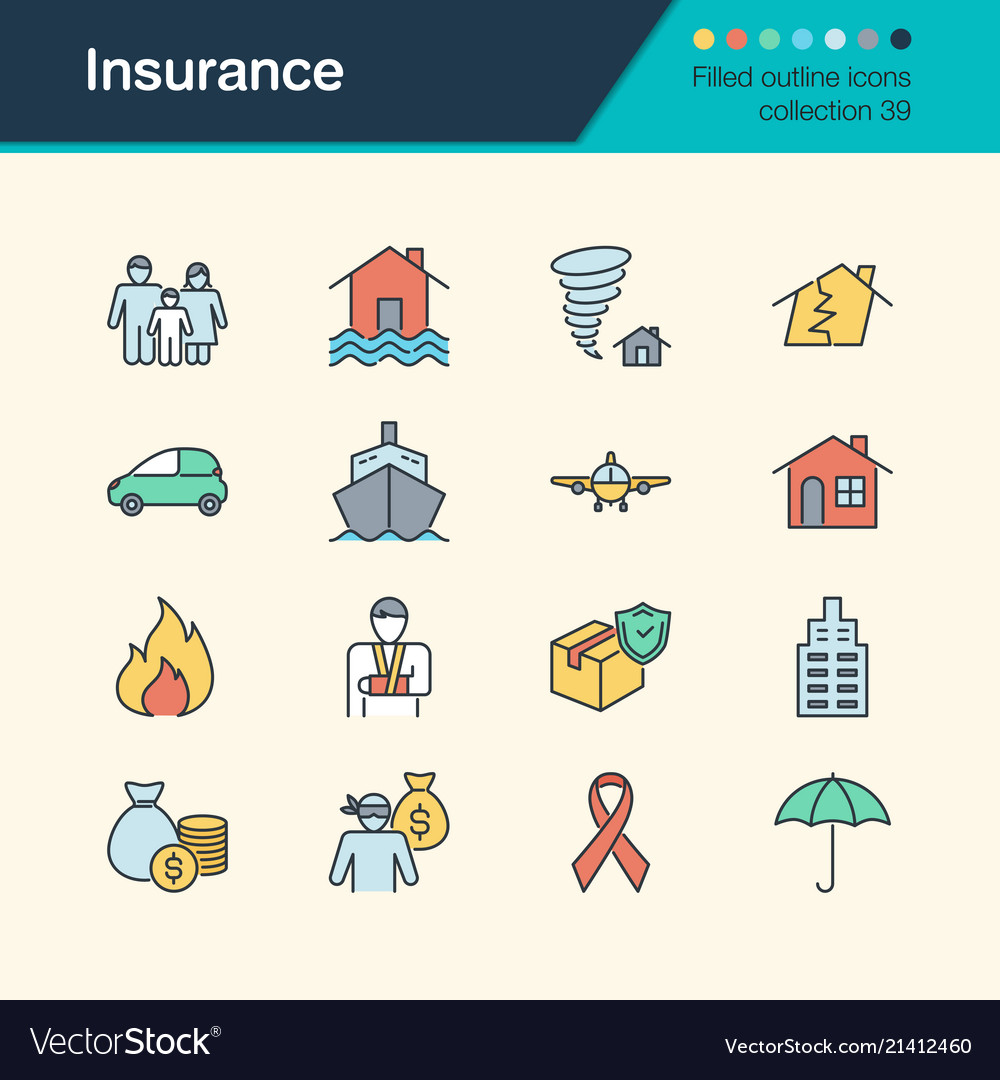 Insurance icons filled outline design collection