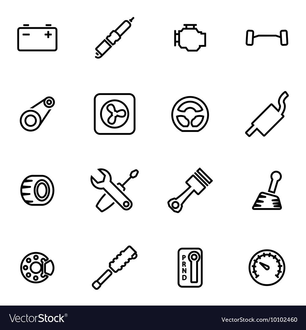 Line car parts icon set