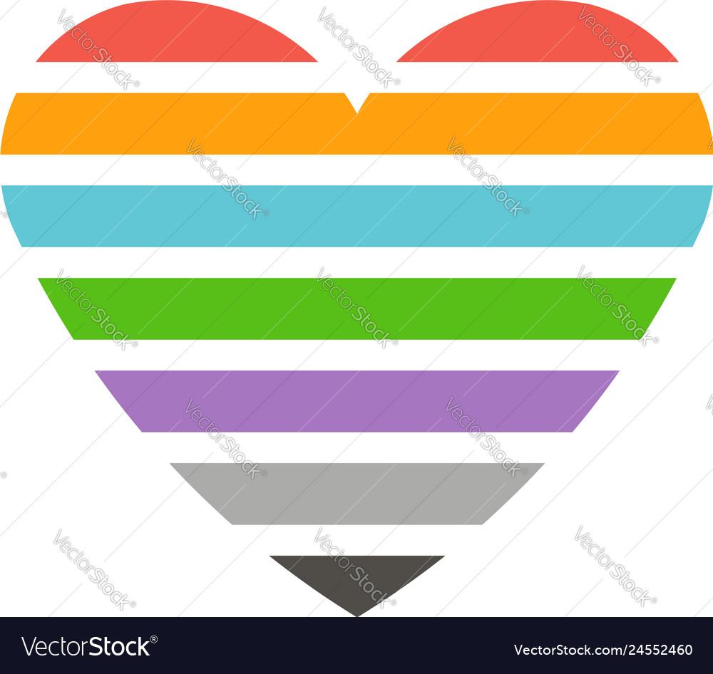 Love heart striped logo
