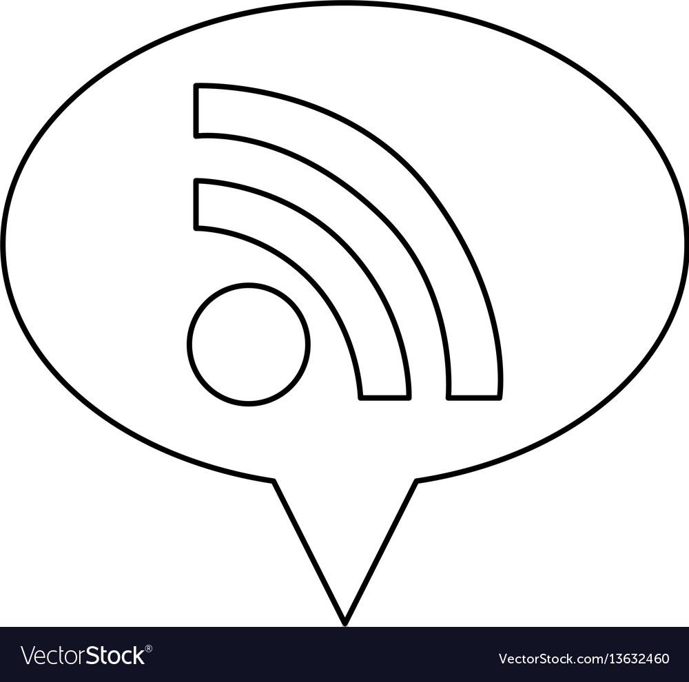 Monochrome contour of oval speech with wifi icon vector image