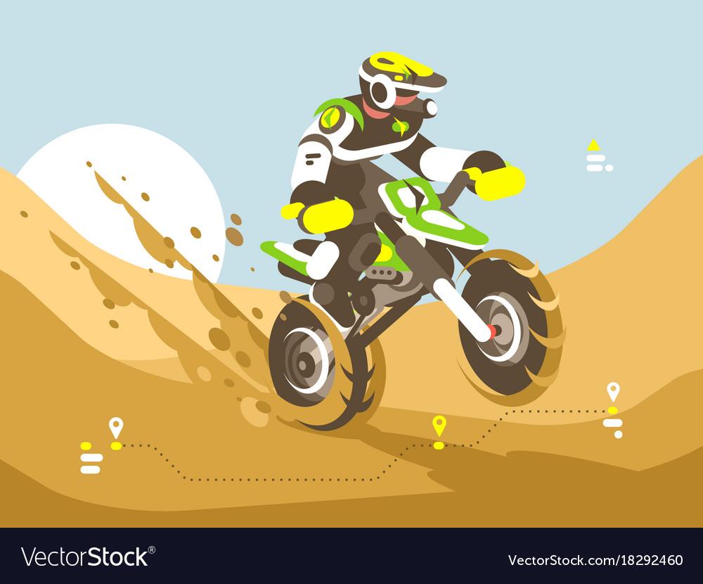 Motorcyclist racing in desert