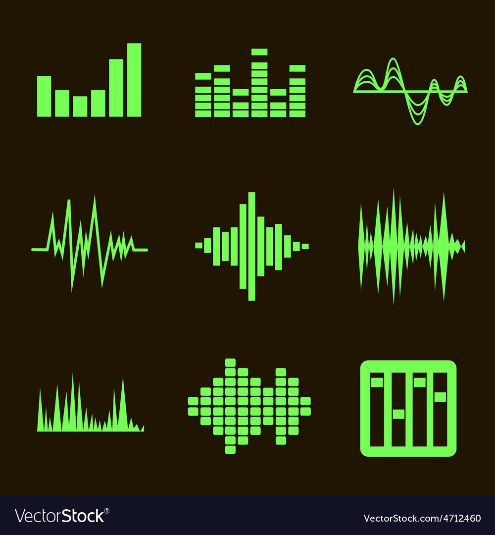 Music soundwave icon set on black