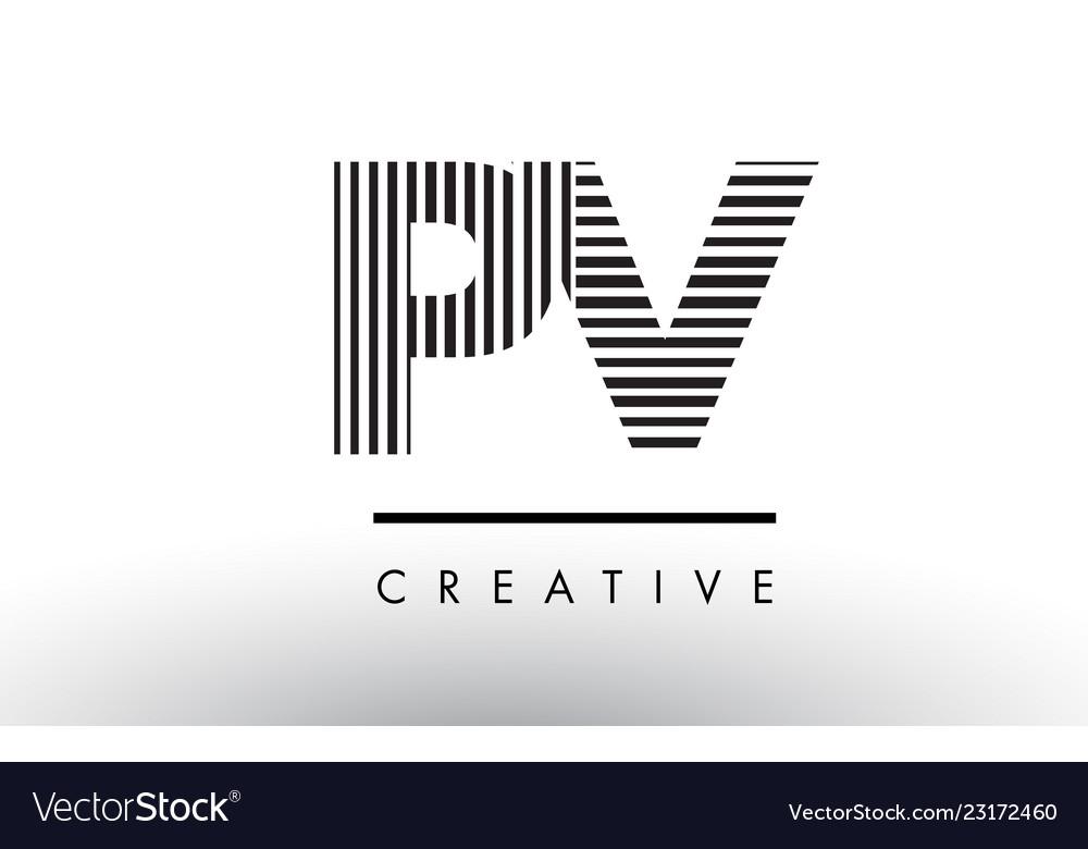 Pv P V Black And White Lines Letter Logo Design Vector Image