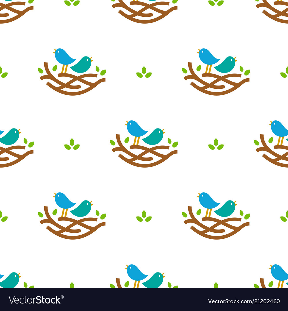 Seamless pattern with colorful singing birds in