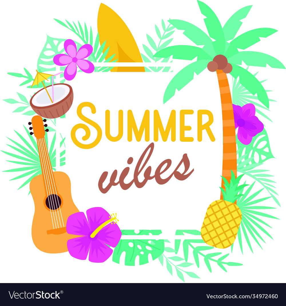 Summer vibes on white background