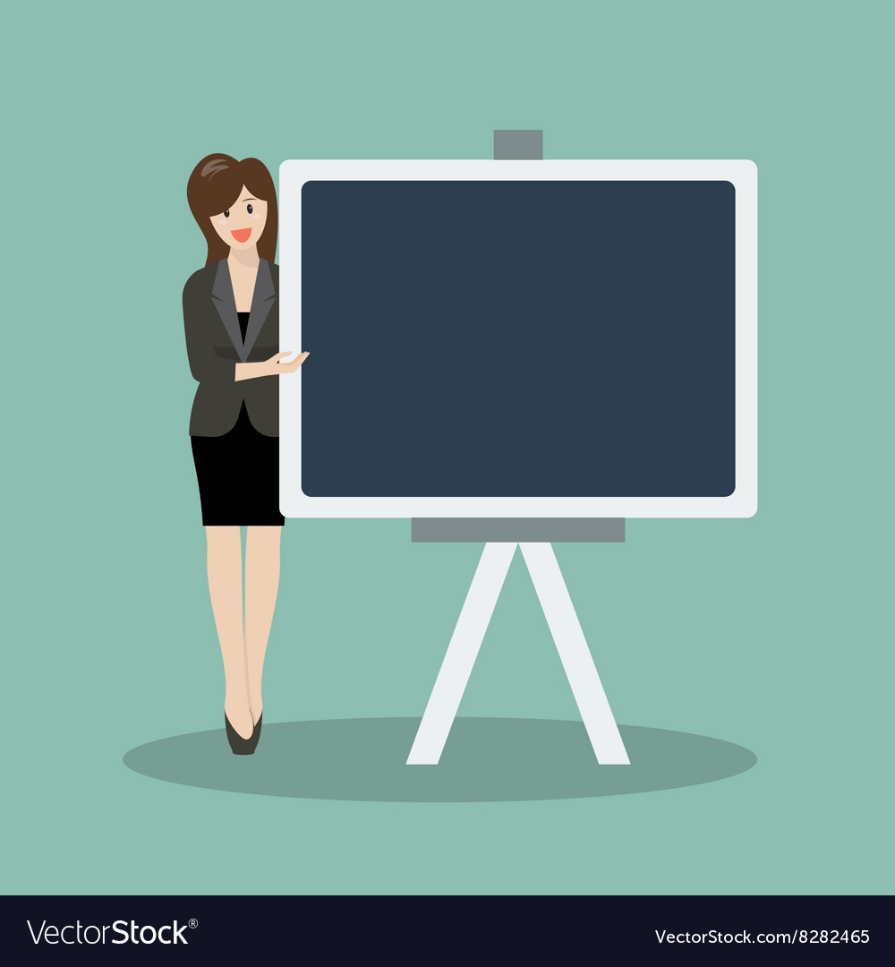 Business woman pointing to the blackboard
