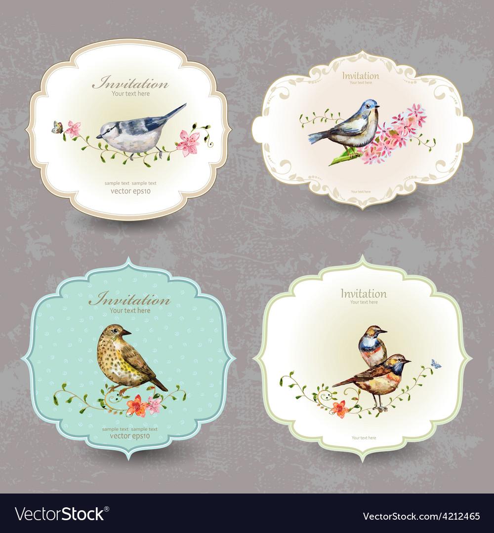 Collection retro label of cute bird watercolor vector image
