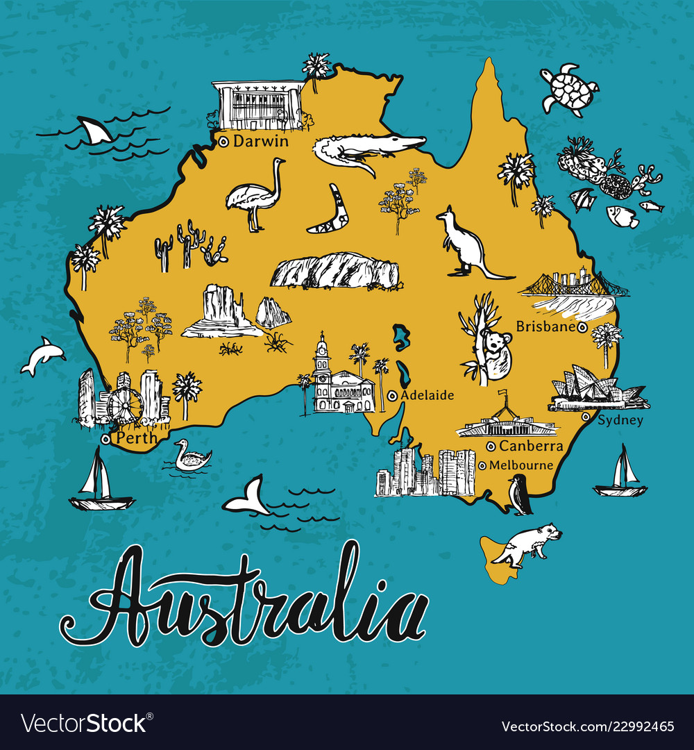 Australia Map Picture.Drawing Cartoon Map Of Australia Royalty Free Vector Image