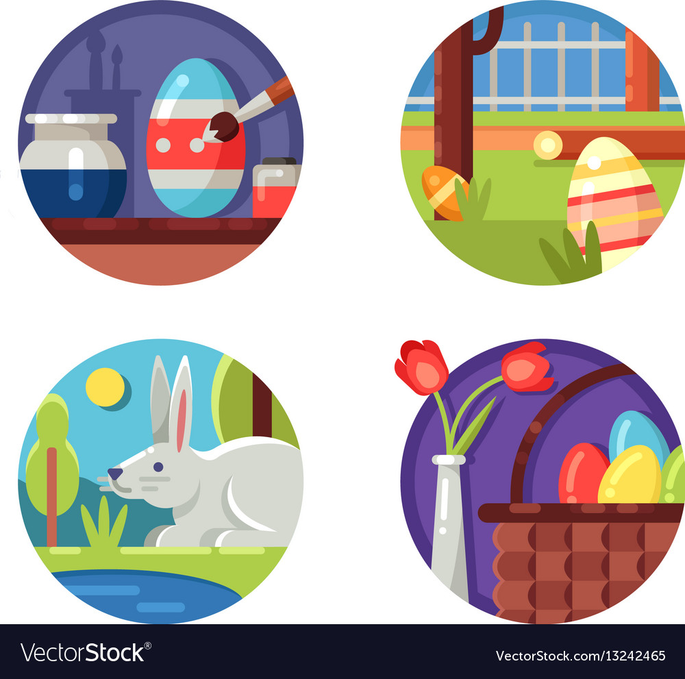 Easter icons set