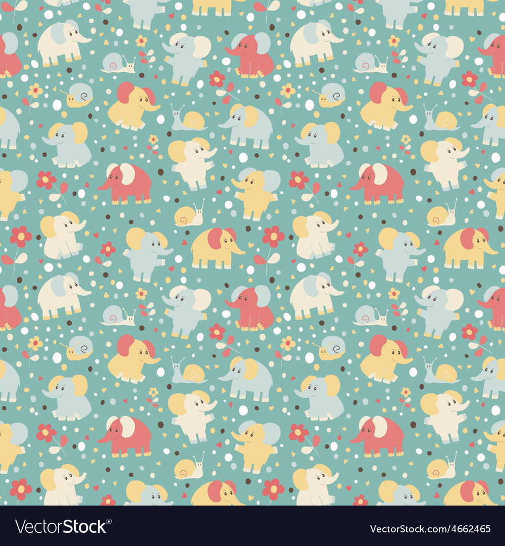Elephant and snailseamless pattern