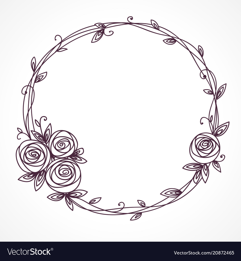 Floral frame wreath of rose flowers