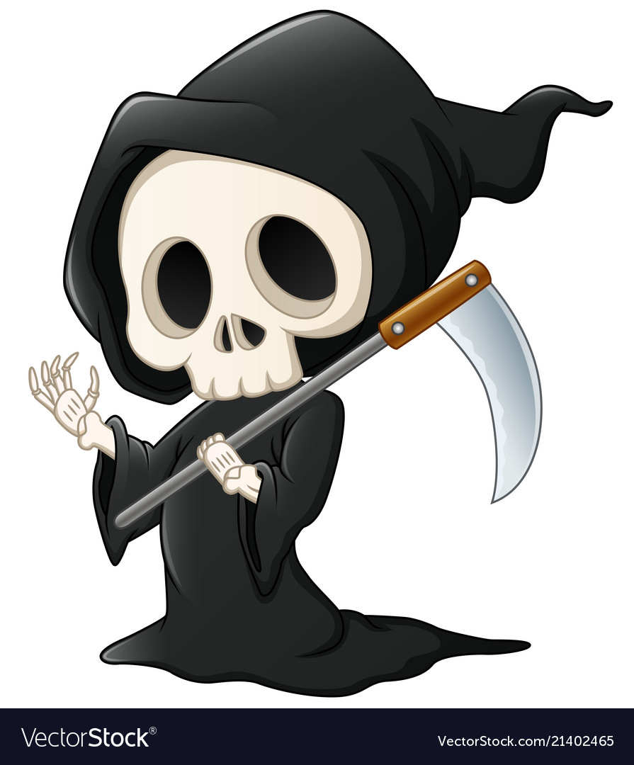 Grim Reaper Cartoon Waving Hand Royalty Free Vector Image