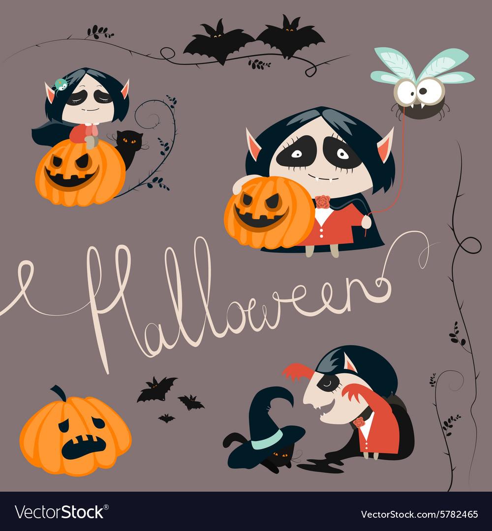 Halloween characters icon set vector image