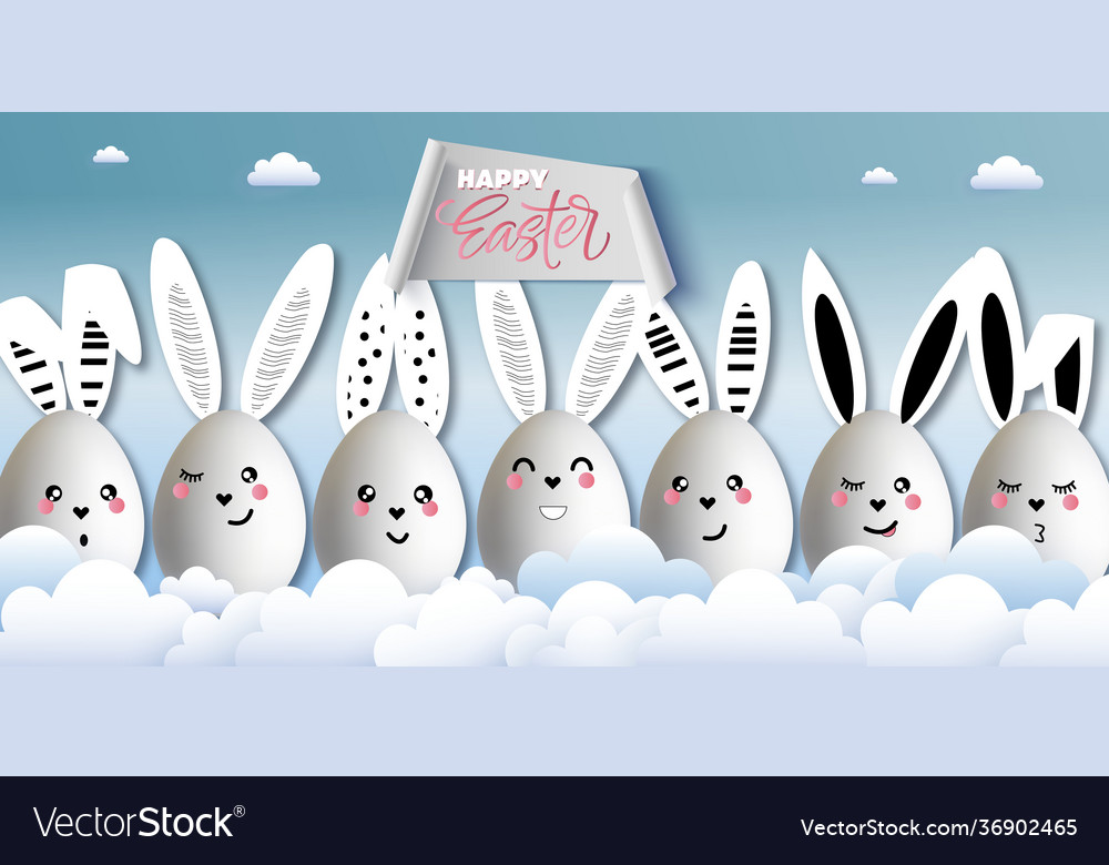 Happy easter funny cute rabbits with easter eggs