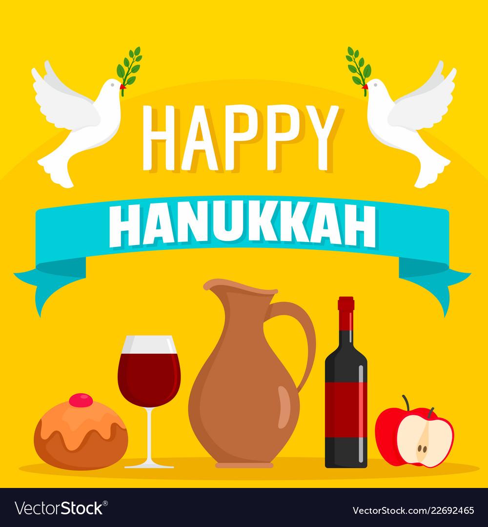 Happy hanukkah food concept background flat style
