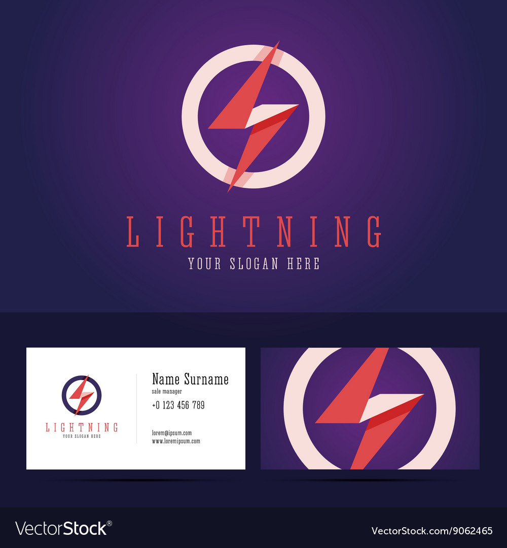 Lightning logo and business card template
