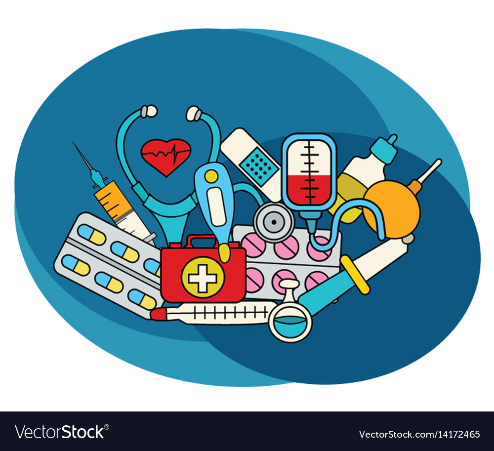 Medicine design set vector image