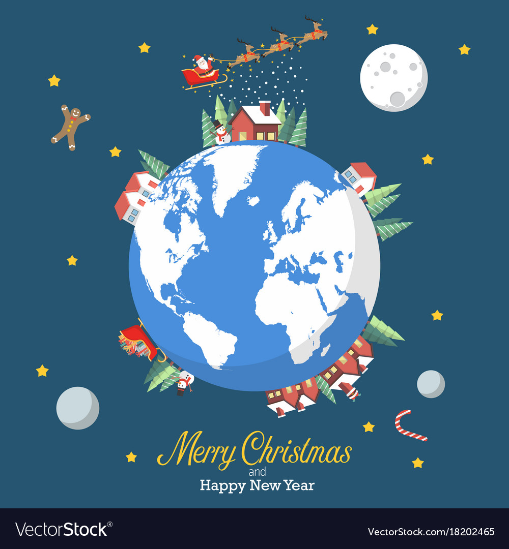 Merry christmas and happy new year with earth