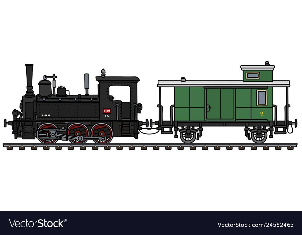 Retro steam locomotive and a green post wagon