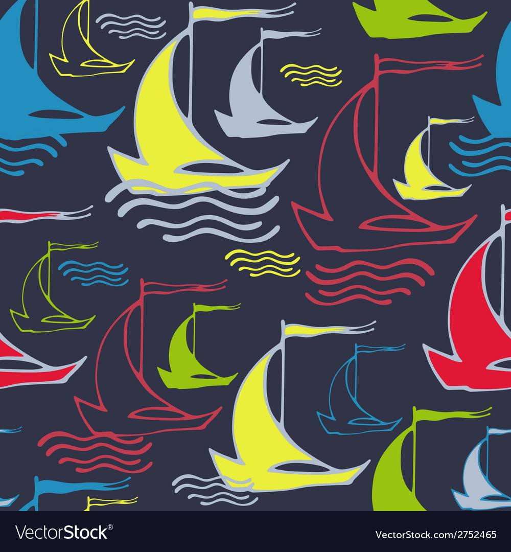 Seamless Pattern With Decorative Ships