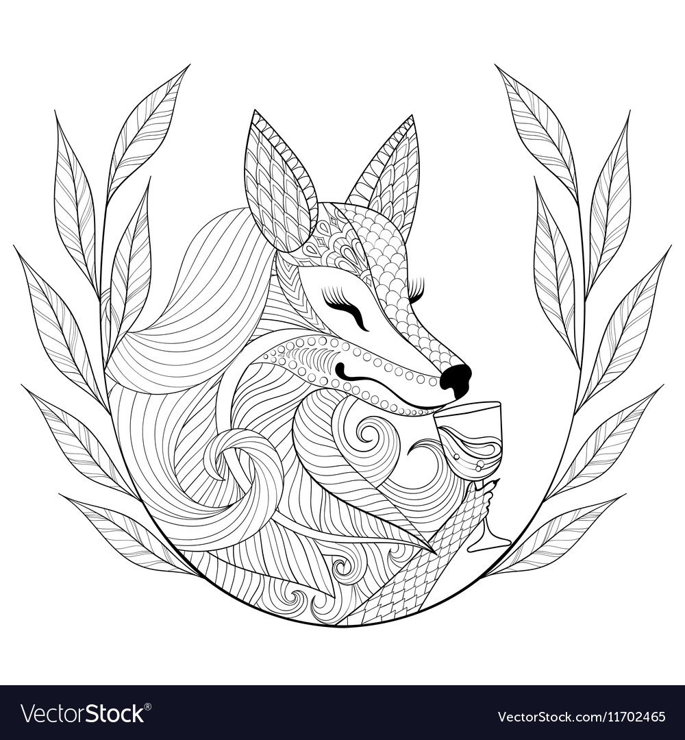 Zentangle Fox with glass of wine in monochrome