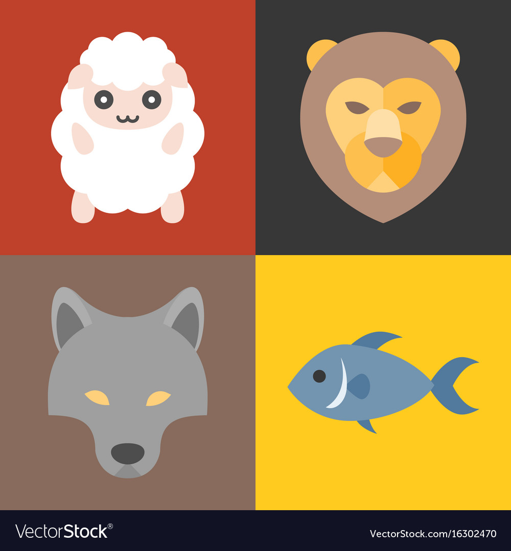 Animals in bible icons set vector image