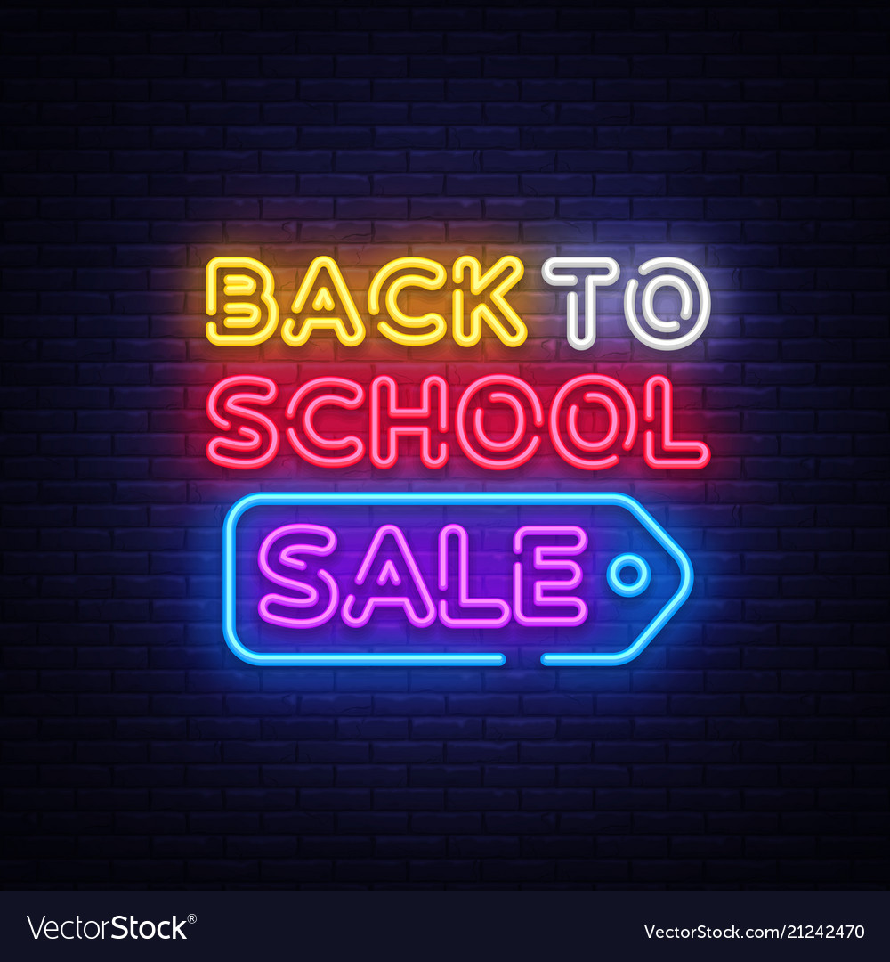 Back to school sale neon sign back to