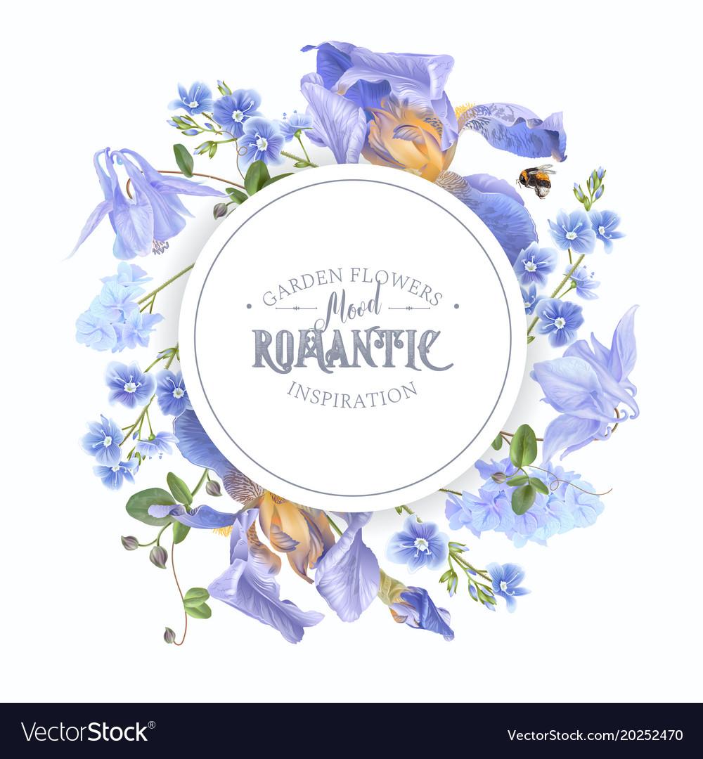 Blue flower round banner