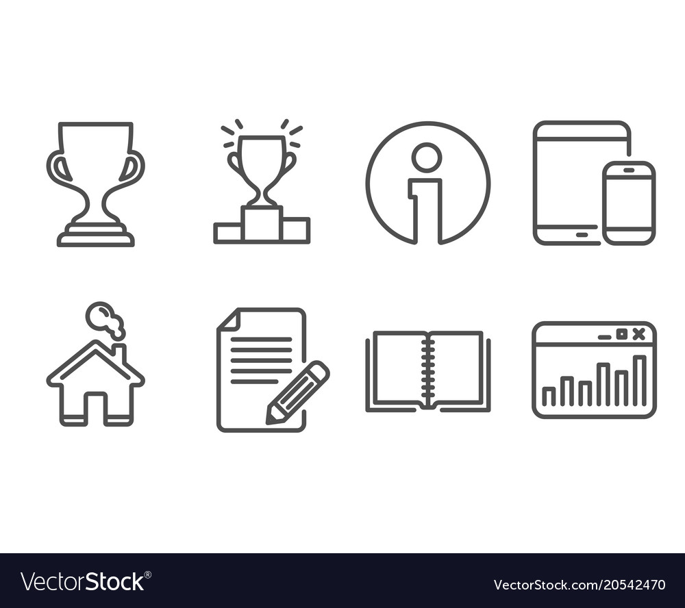 Book article and award cup icons mobile devices vector image