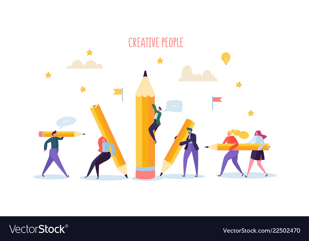 Business people with pencils creative characters