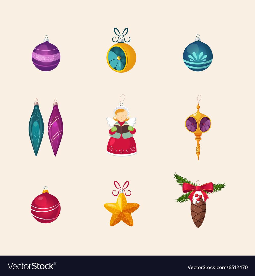 Christmas Tree Decorations Icon Set