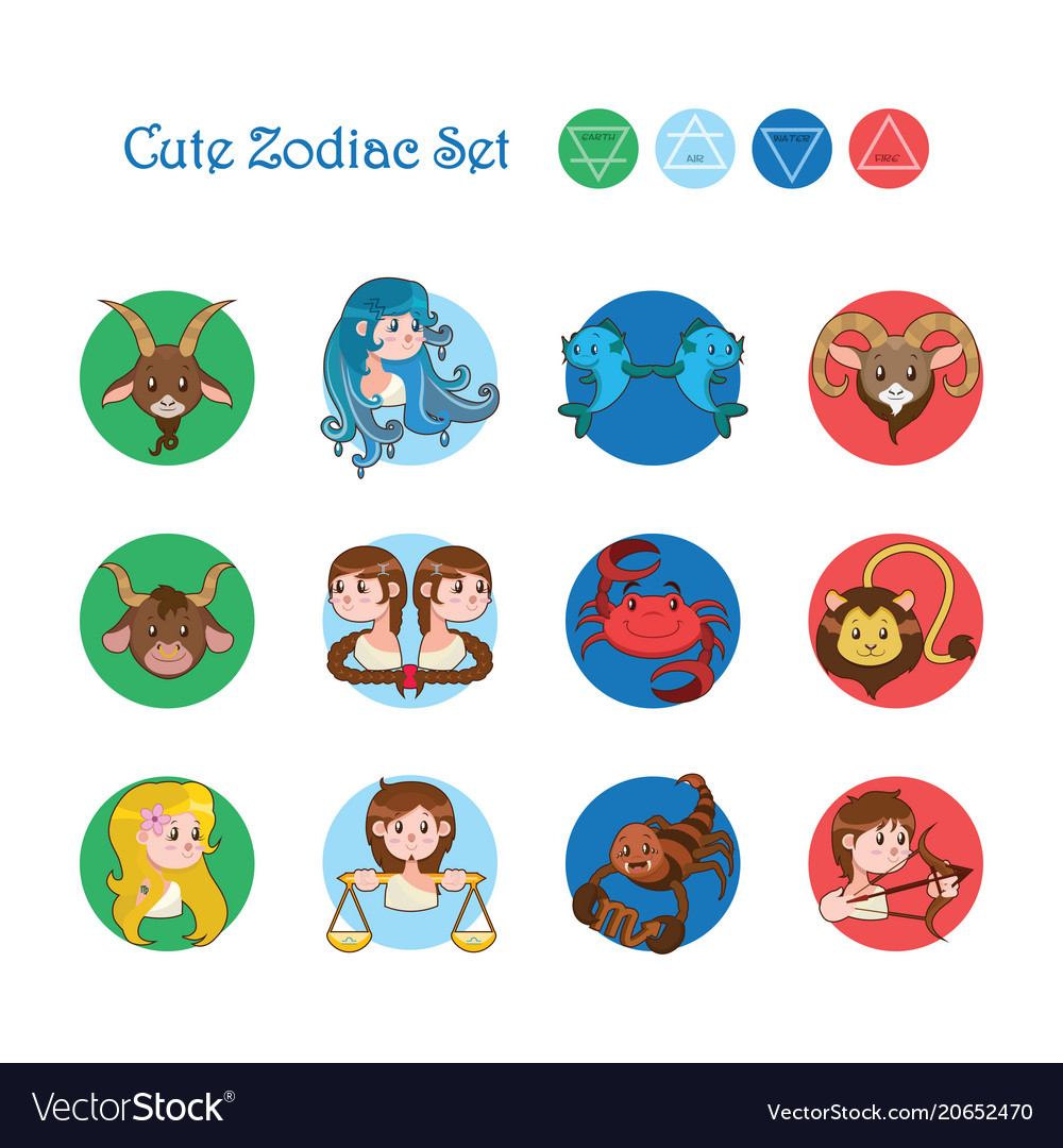 Collection of the twelve zodiacs in cartoon style