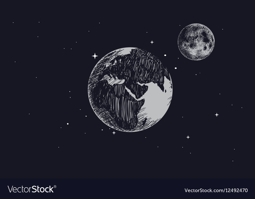 Earth with full moon in outer space vector image