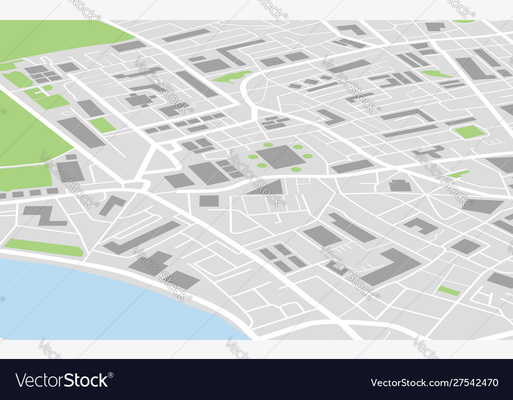 Flat city map colored concept