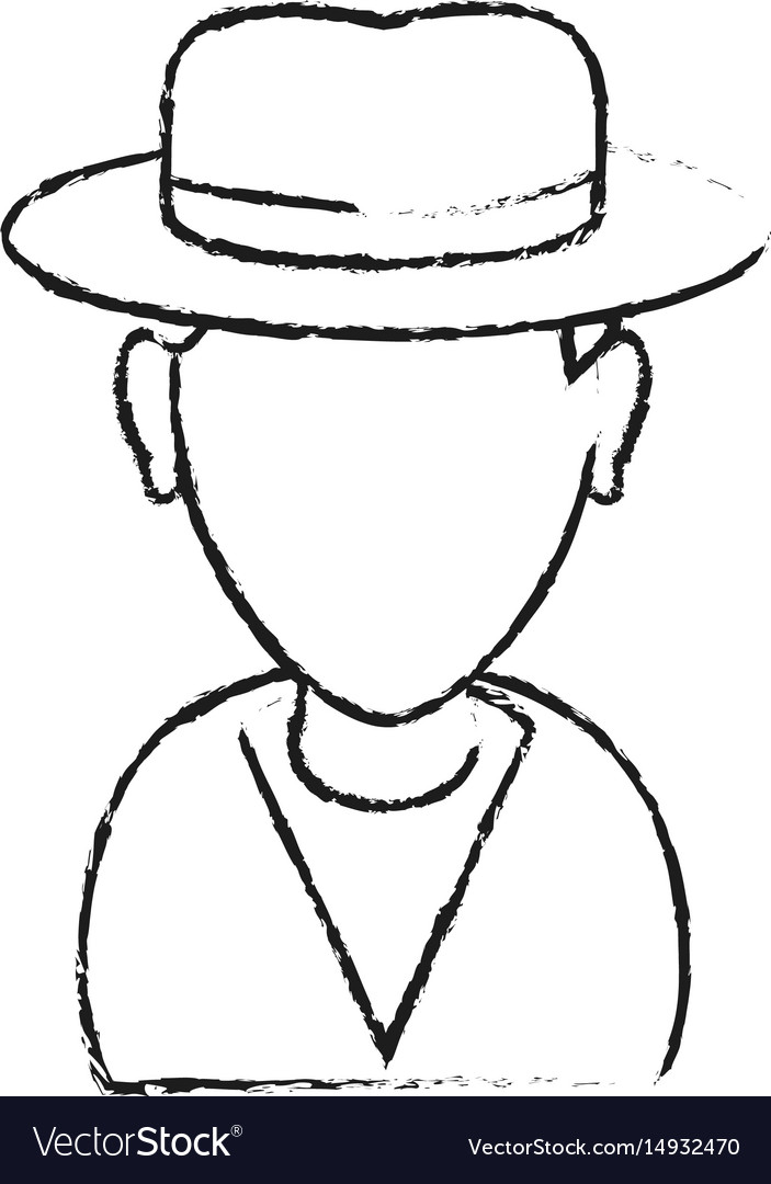 Monochrome blurred silhouette with half body man vector image
