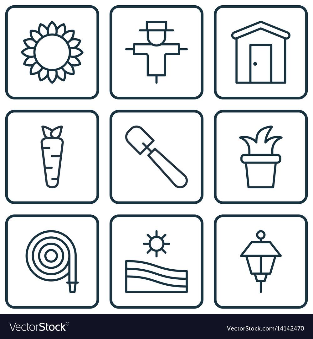 Set of 9 planting icons includes bush pot shovel
