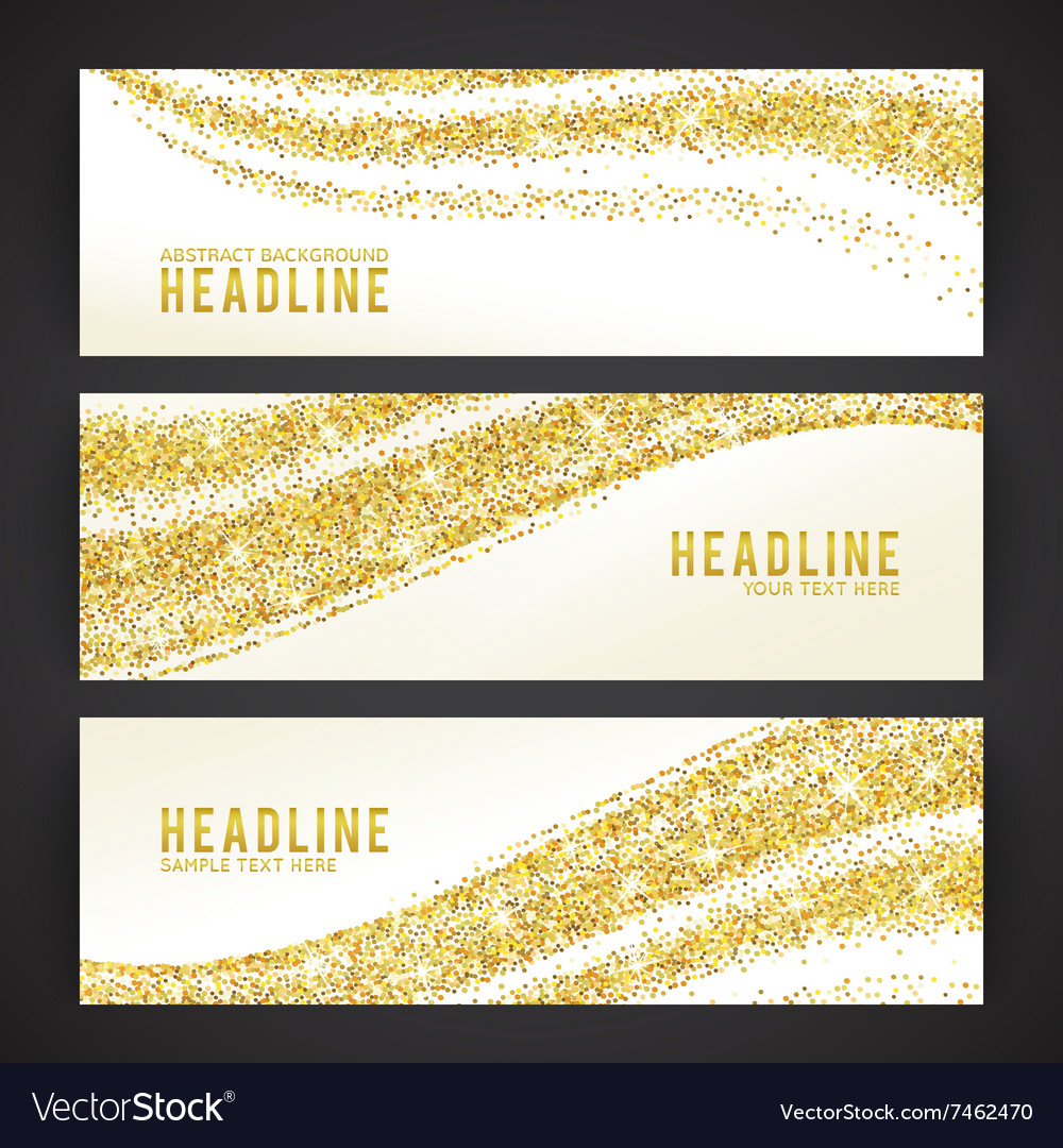 Set of banners with golden confetti theme