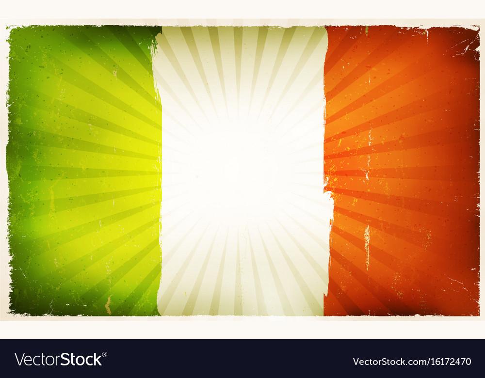 9ec4b1973e12 Vintage irish flag poster background Royalty Free Vector