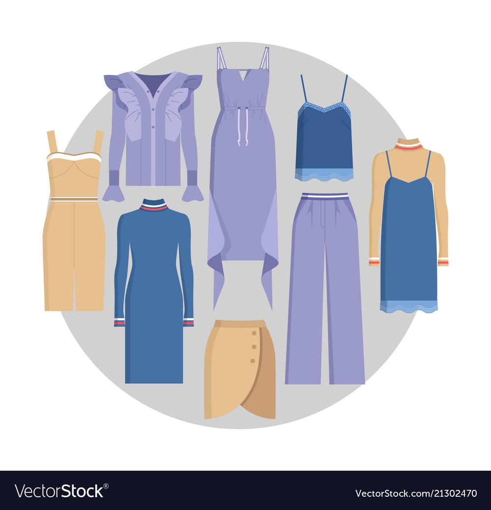 vogue clothe set color card royalty free vector image