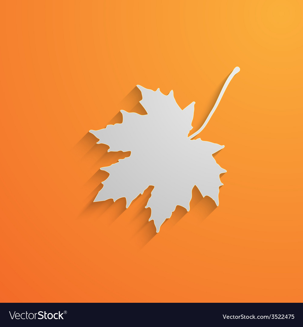 A paper 3d maple leaf with shadow autumn