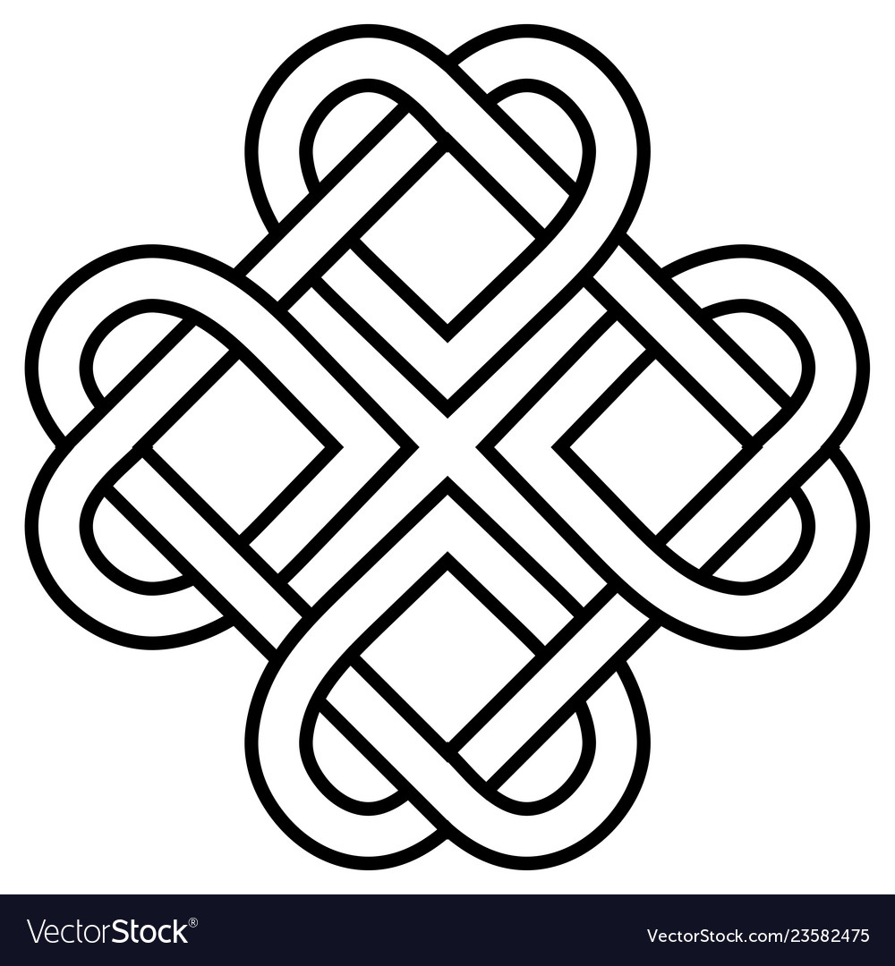 Ancient symbol love knot twisted heart