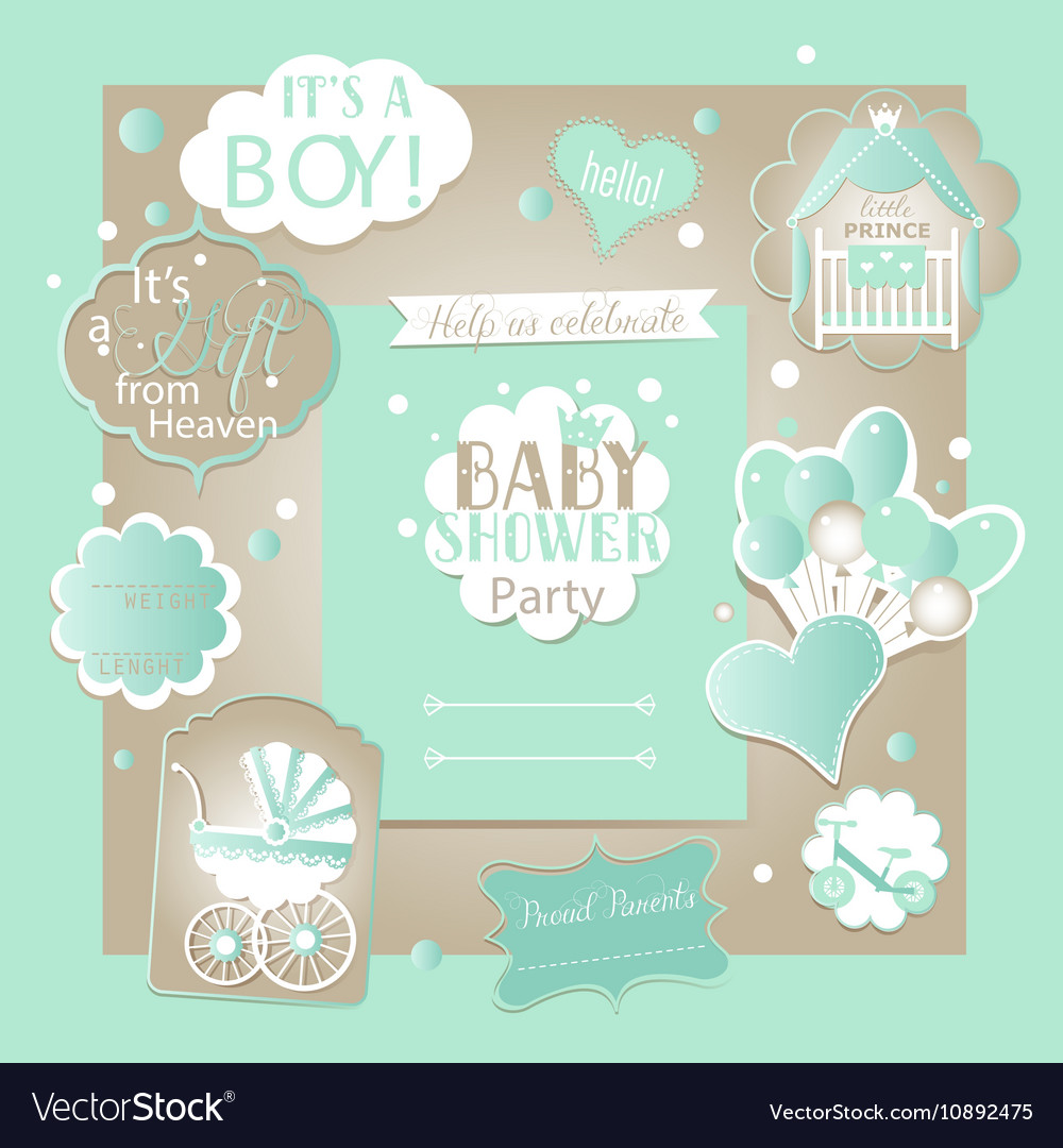 Baby boy shower set with greeting design vector image m4hsunfo