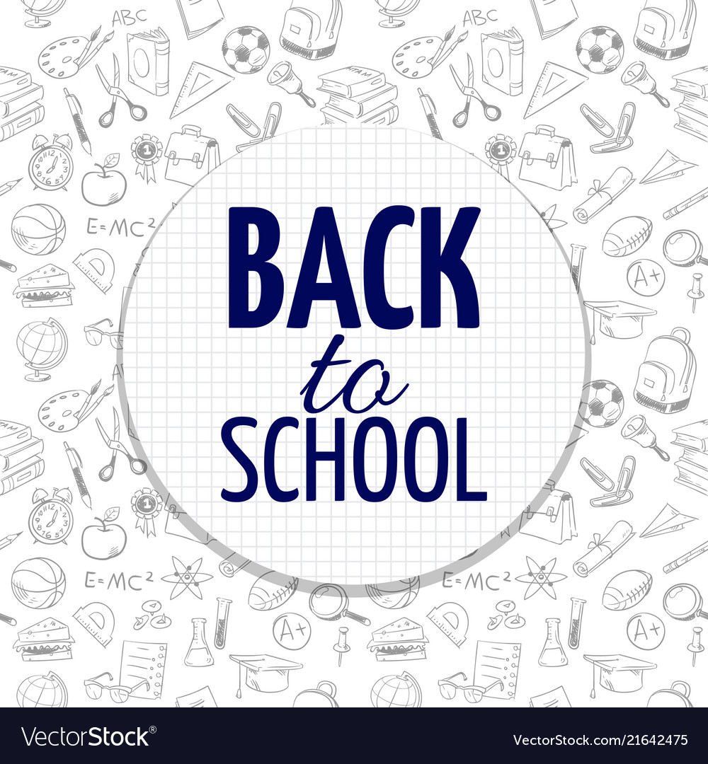Back to school banner design with hand drawn
