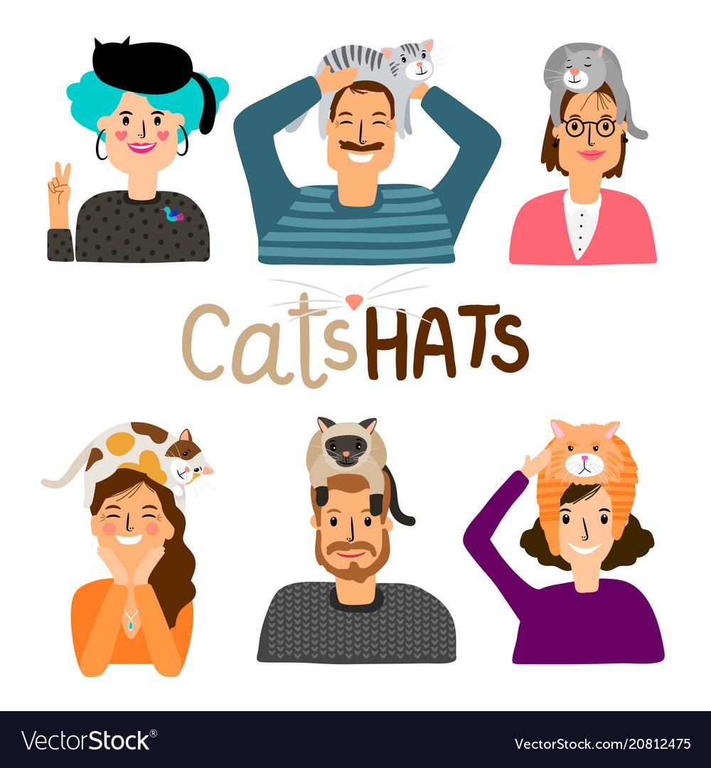 Cats hats cartoon icons