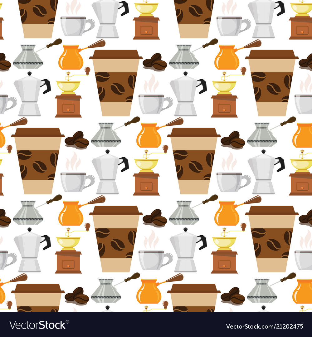 Coffee cup coffeemaker seamless pattern background