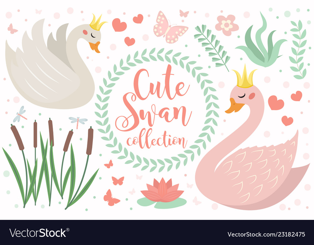 Cute swan princess character set of objects