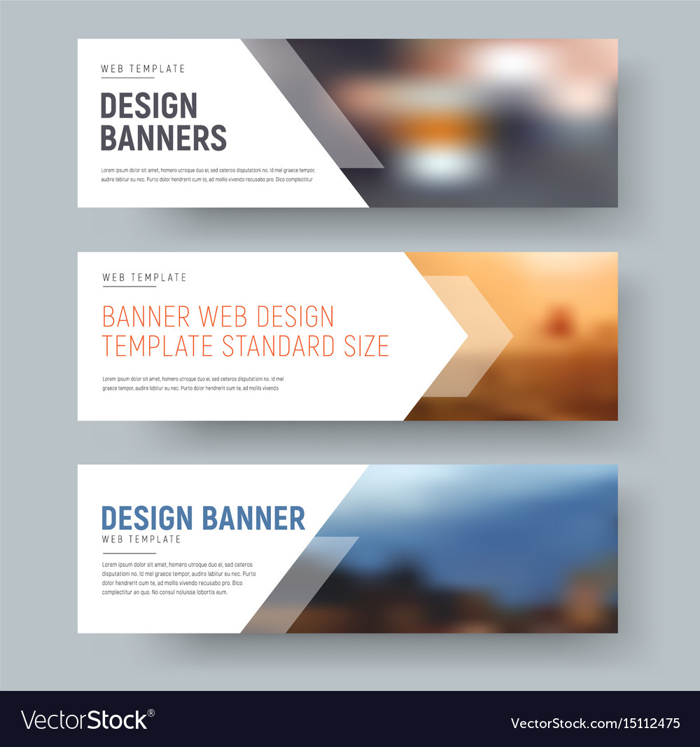 Design of standard horizontal web banners with Vector Image